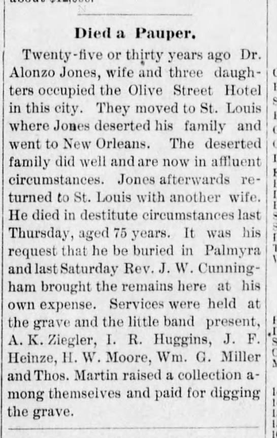 Alonzo news article about dying a pauper.